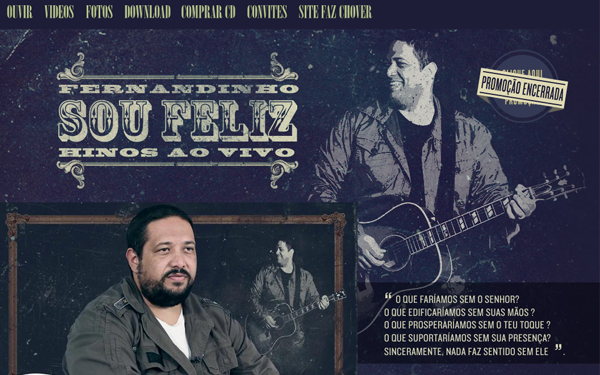 sou feliz website interface webdev musicians