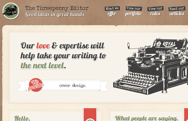 the threepenny editor website brown layout inspiring