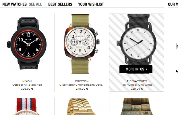 timefy watches ecommerce product list