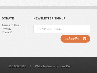 Footer Signup Newsletter subscribe box