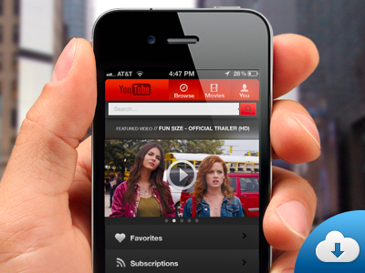 Custom YouTube iPhone app interface PSD