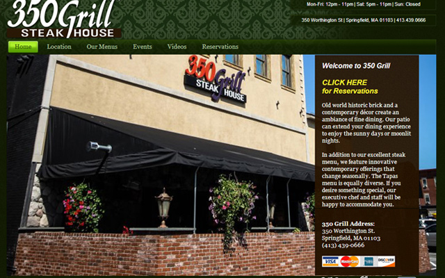 350 grill steakhouse restaurant homepage layout