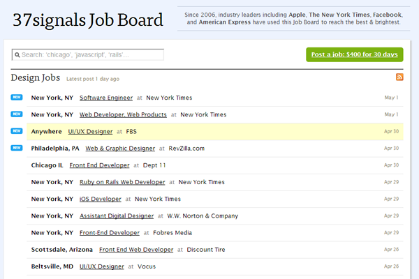 37 signals job board website layout