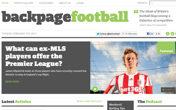 back page football website interface layout blogging