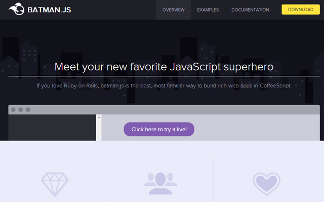 open source batman js script design homepage