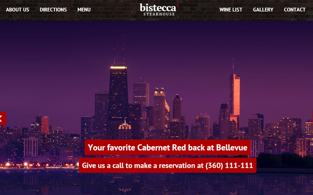 restaurant website layout parallax bistecca