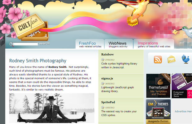 cult foo inspiration screenshot homepage