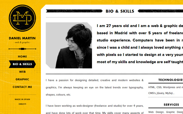 daniel martin yellow website layout