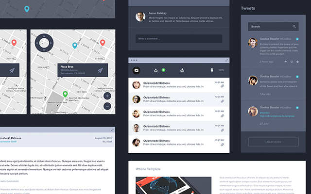 dark ui kit freebie psd download