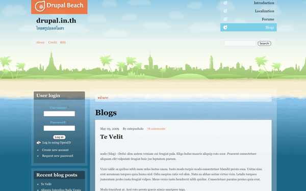 Drupal beach website interface template layout