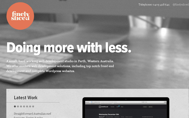grey finely sliced website simple layout perth australia