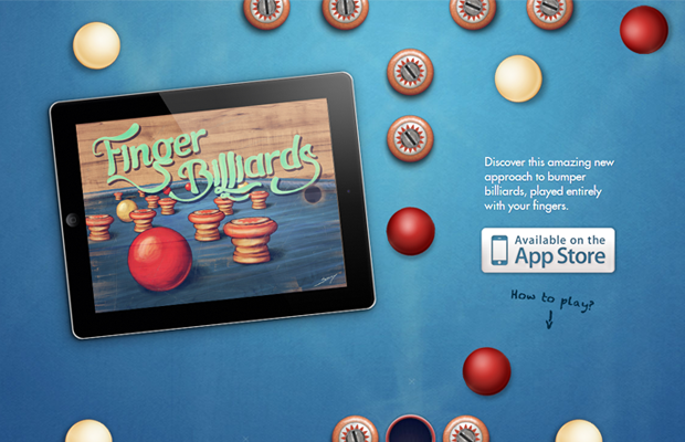 iphone app website landing page finger billiards