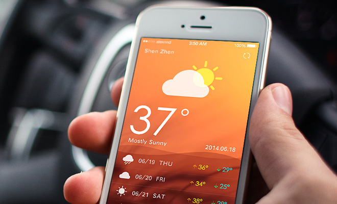 weather app iphone ui flat design