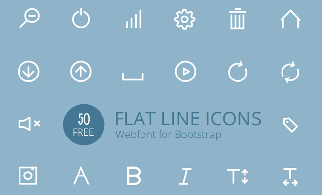 simple flat white line icons webfont