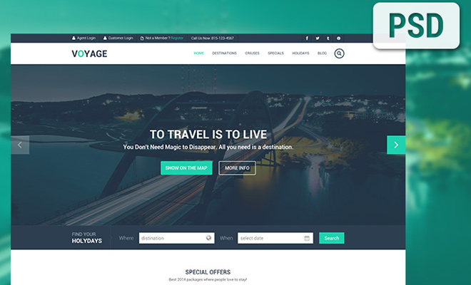 free psd travel website mockup