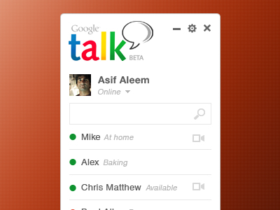 Google Talk application design PSD