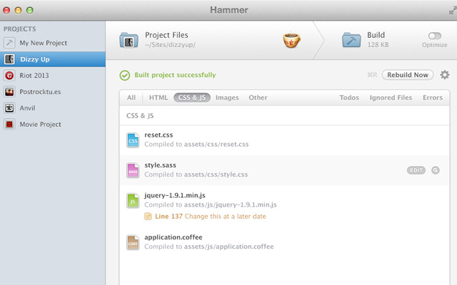 hammer for mac osx app landing page