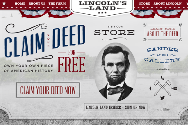 lincolns land website layout interface design