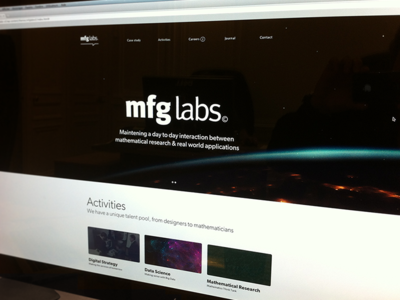 mfg labs website screenshot layout dark