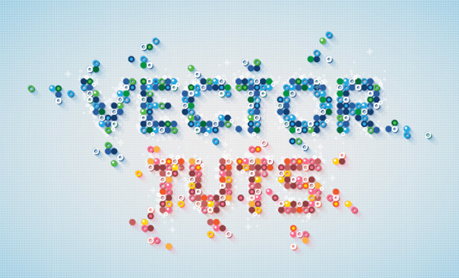 colorful beads text effect illustrator