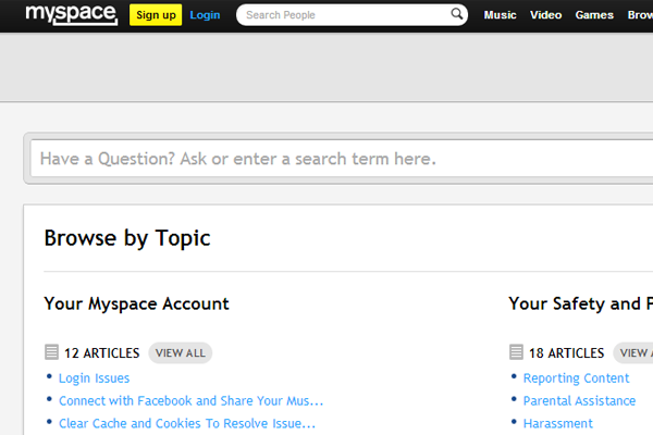 MySpace faq help support page for members template