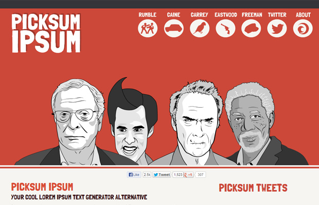 picksum ipsum website red layout design inspiring