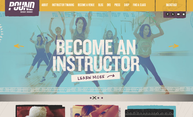 pound fitness website homepage workout layout