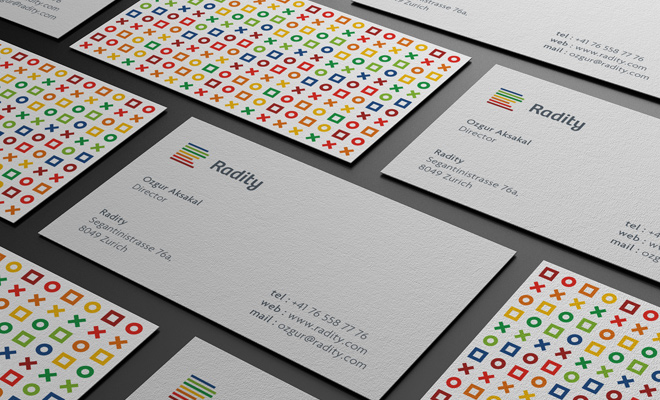 radity business card print design logo