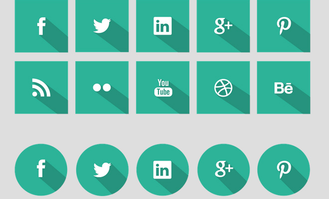 green shadow social media icons