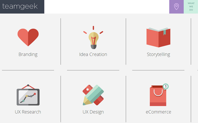 team geek website flat icons design ui