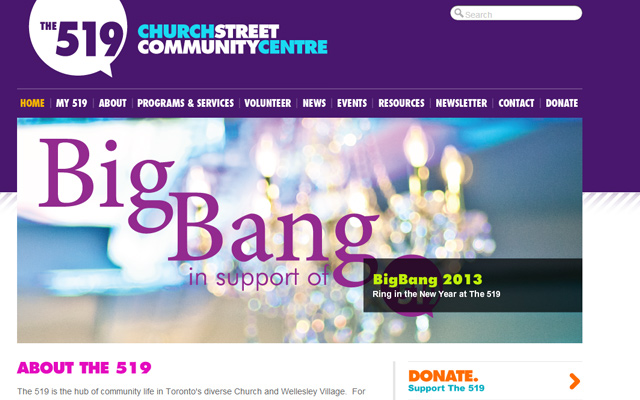 the519 community centre website purple