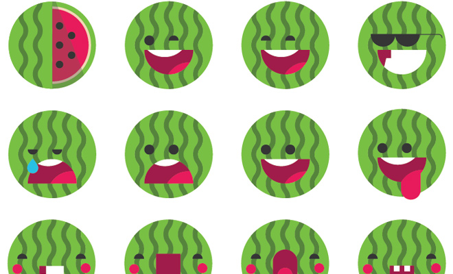 watermelon green emoji set