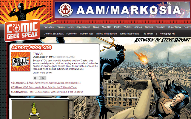 comic geek speak website design 2014 layout