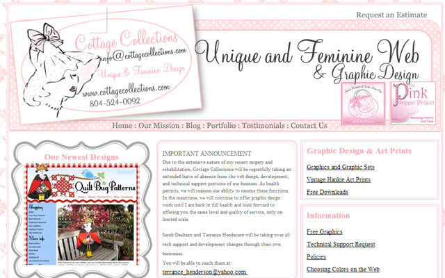 pink website layout cottage collections design