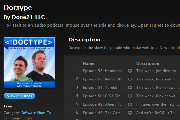 itunes doctype podcast web designs