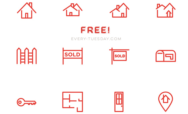freebie vector iconset real estate