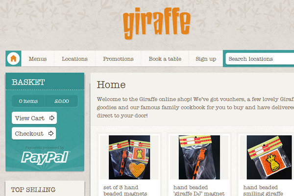 website ecommerce layout Giraffe.com shops