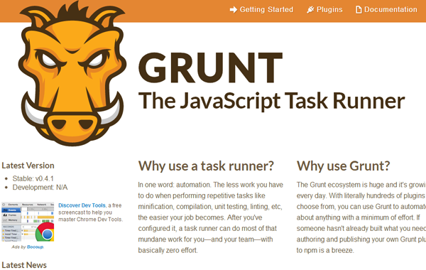 simple basic javascript task runner framework