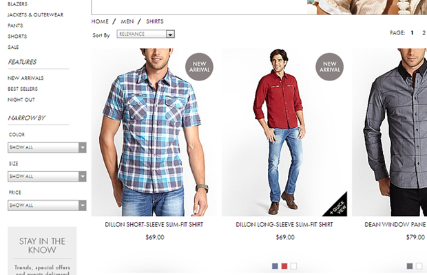 guess shop tshirts product listing ecommerce