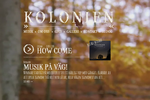 Kolonien music content German website layout photographs background