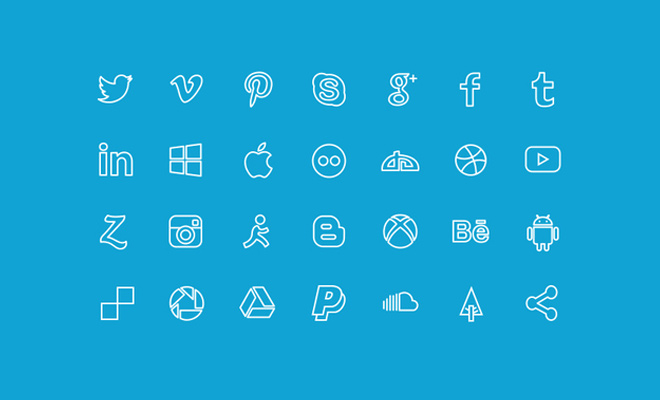simple line icons social media
