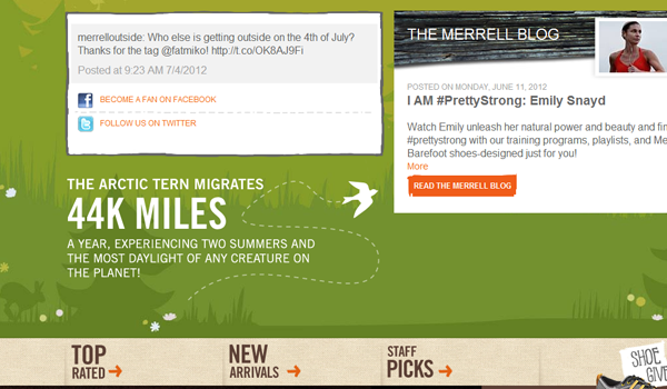 Hiking and camping supplies Merrell website