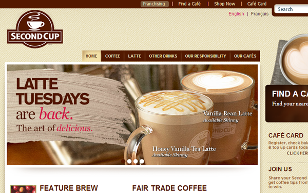 second cup coffee restaurant website interface