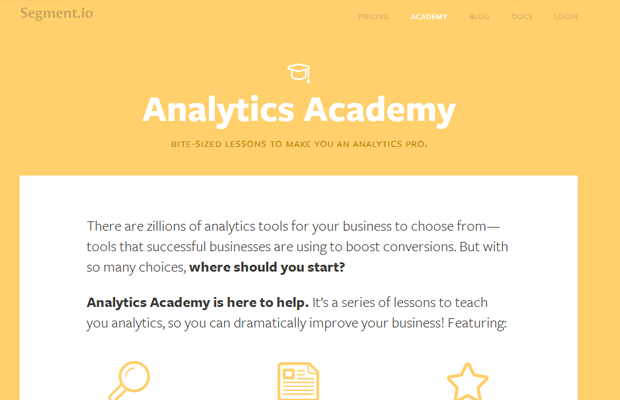 segment academy interface landing design