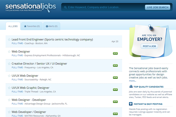 design jobs board homepage sensationals
