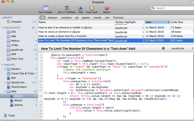 snippets app code snippet handler osx