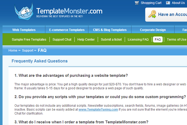 Online Template Monster E-commerce website faq support questions