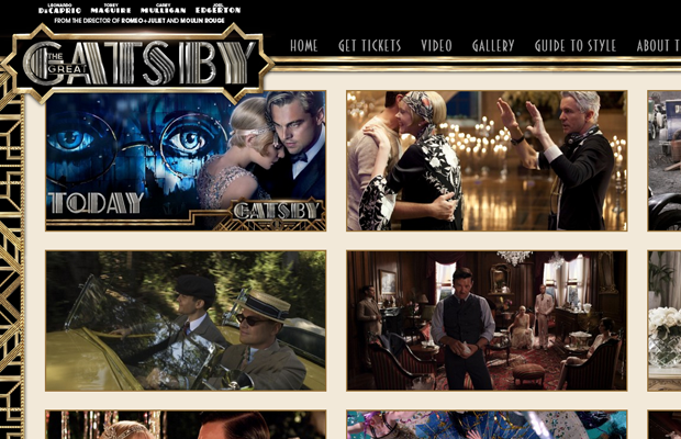 great gatsby official movie website layout