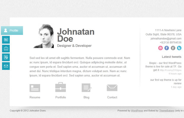 vcard wordpress theme personal layout