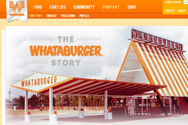 Whata Burger Restaurant Company orange website layout
